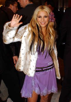 "Colombian singer-songwriter Shakira, 24, arrives at the Roseland Ballroom for a private concert for the release of her English-language debut album, ""Laundry Service,"" Monday, Nov. 12, 2001, in New York. Photo: LOUIS LANZANO, AP / AP"