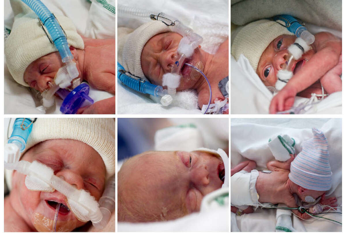 The Perkins sextuplets in May 2012. Top row, from left, Allison, Andrew and Benjamin. Bottom row, from left, Caroline, Leah and Levi.