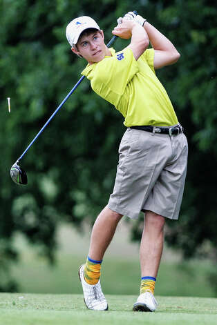 Smithson Valley's Kirby Gorzell tees off on the fourth hole during the 4A state golf tournament at Jimmy Clay Golf Course in Austin on May 1, 2012.  Gorzell qualified for the tournament as a medalist and shot 152 (73-79). Photo: MARVIN PFEIFFER, Marvin Pfeiffer / Mpfeiffer@express-news.net / Express-News 2012