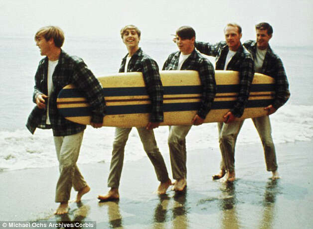 "It was 1961 when The Beach Boys had their first chart hit, ""Surfin."" Pictured here in 1962 are, left to right, Dennis Wilson, David Marks, Brian Wilson, Mike Love and Carl Wilson. Photo: © Michael Ochs Archives/Corbis"