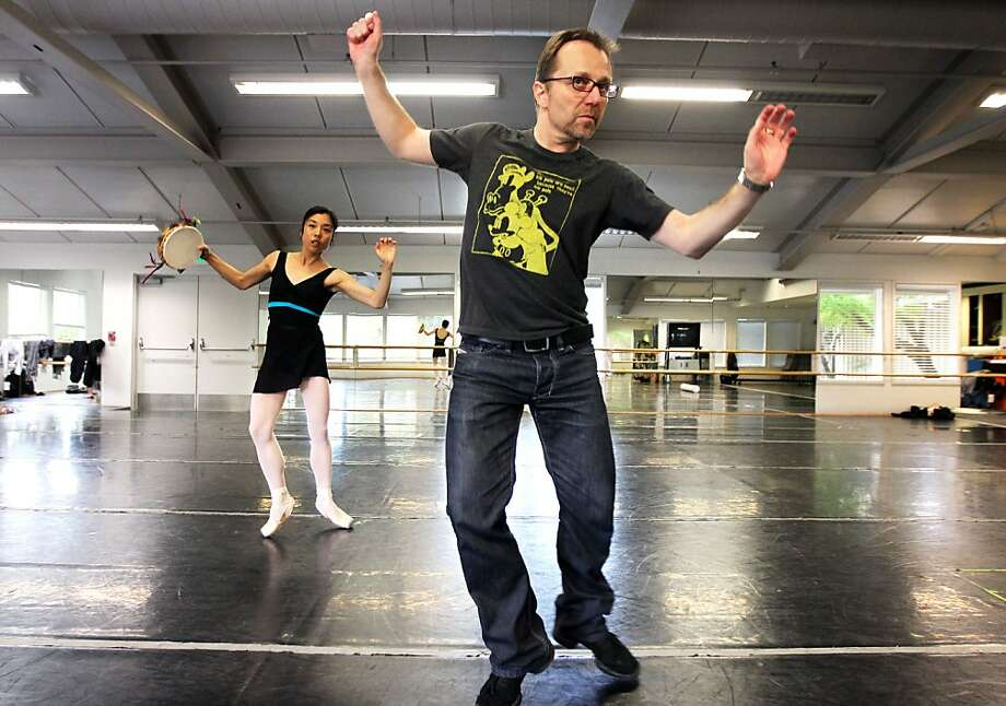 "Christopher Stowell, Artistic Director of the Oregon Ballet Theater, gives direction to Hiromi Yamazaki during a rehearsal, as Stowell begins arranging George Balanchine's ""Tarantella"" for Diablo Ballet Tuesday, April 24, 2012 in Walnut Creek, Calif. Photo: Lance Iversen, The Chronicle"