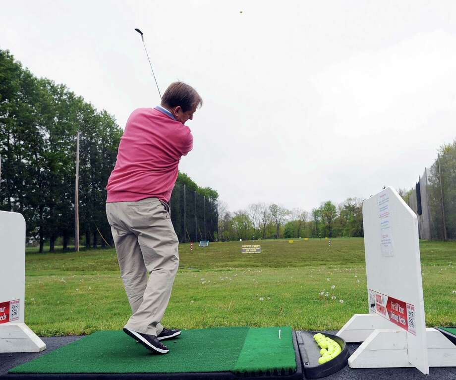 Joe Felder on the driving range during the Golf at the Griff event at the Griffith E. Harris Golf Course in Greenwich, Wednesday afternoon, May 2, 2012. Felder is the pro at Griffith E. Harris Golf Course. Photo: Bob Luckey / Greenwich Time