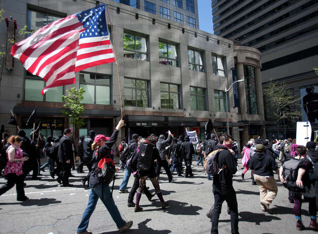 Protesters fill the streets of downtown Seattle for a May Day march on Tuesday, May 1, 2012.