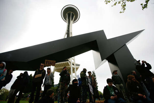 Protestors gather infront of the space needle in Seattle on Tuesday, May 1, 2012. Photo: SOFIA JARAMILLO / SEATTLEPI.COM