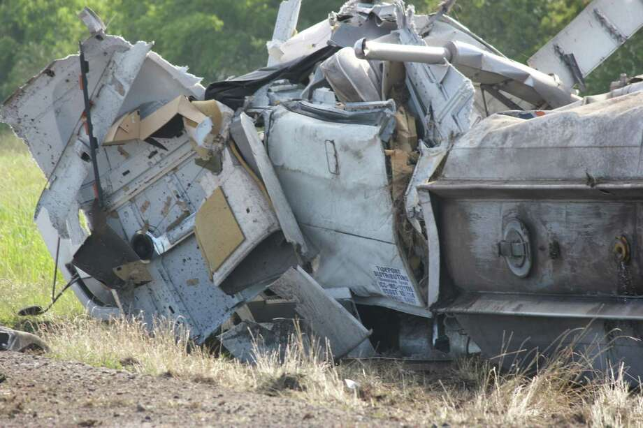 A tanker truck hauling ethanol rolled over early Wednesday morning on Interstate 10 near Winnie. Photo: Courtesy Of Beaumont Fire Rescue