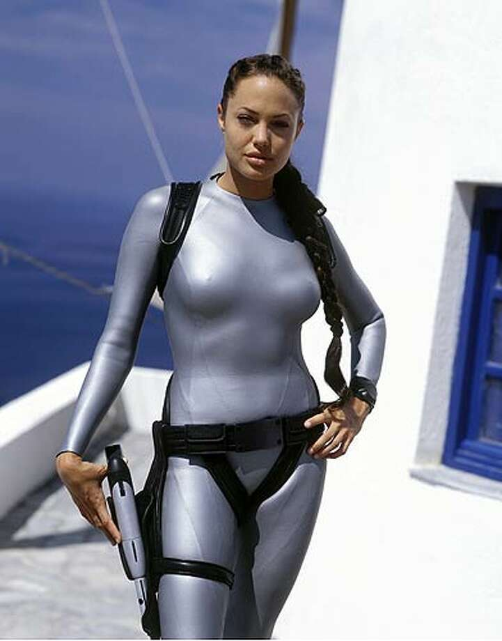 Angelina Jolie portrayed the impossibly well-endowed video game character Lara Croft twice (2001, 2003) on her way up the ladder of fame. Photo: Paramount Pictures