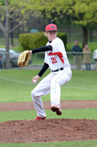 New Canaan's Jackson Anderson (22) pitches during the baseball game against Fairfield Warde at Mead Park in New Canaan on Wednesday, May 2, 2012. Photo: Amy Mortensen / Connecticut Post Freelance