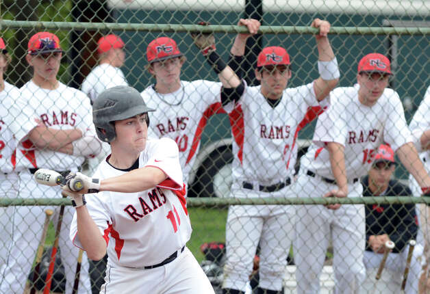 New Canaan's Doug Reilly (11) at bat during the baseball game against Fairfield Warde at Mead Park in New Canaan on Wednesday, May 2, 2012. Photo: Amy Mortensen / Connecticut Post Freelance