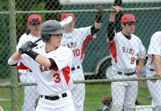 New Canaan's Andrew Casali (3) at bat during the baseball game against Fairfield Warde at Mead Park in New Canaan on Wednesday, May 2, 2012. Photo: Amy Mortensen / Connecticut Post Freelance