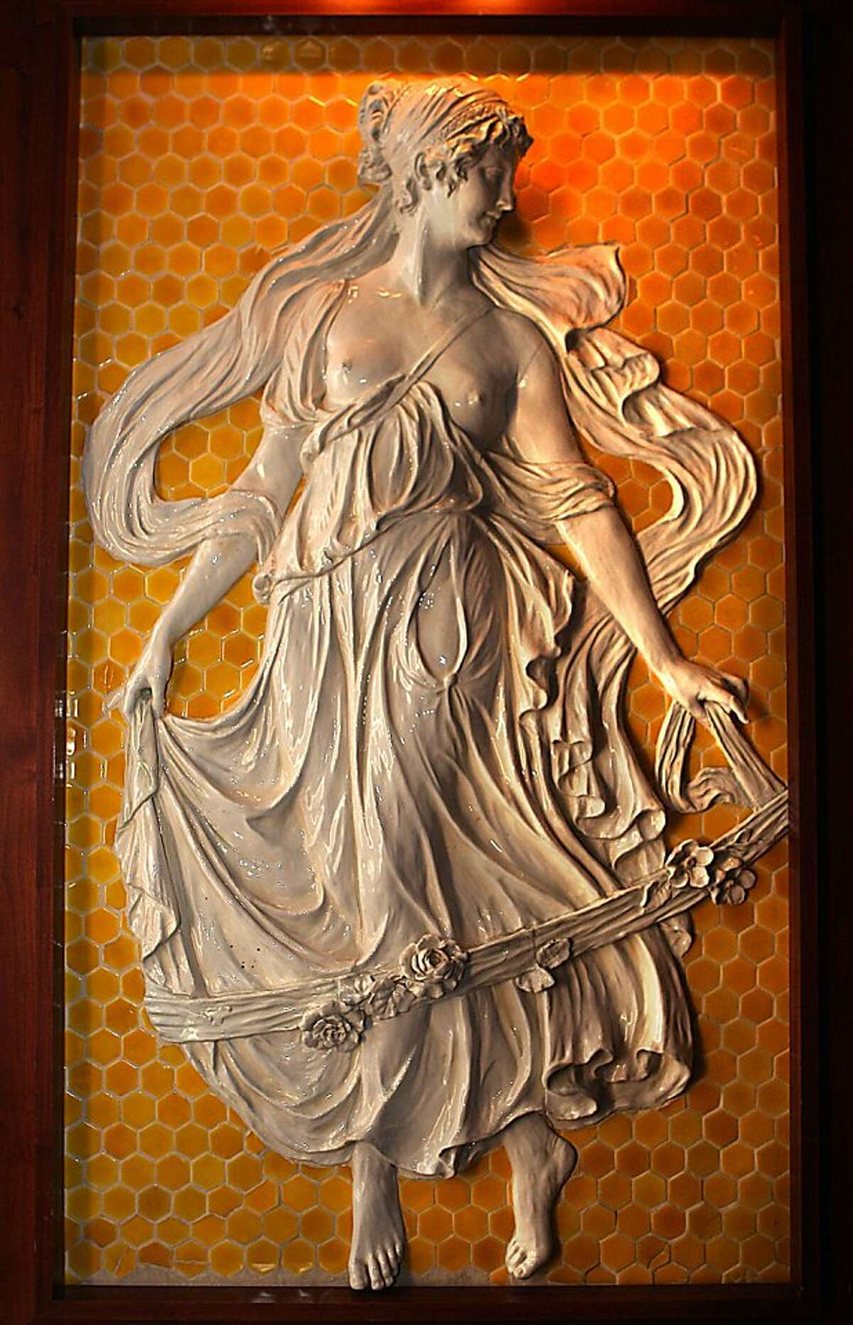 Ceramic muse originally located in Sutro baths commissioned by Adolph Sutro in the early 1890's from Italy, and is displayed at Sutro's in the Cliff house.