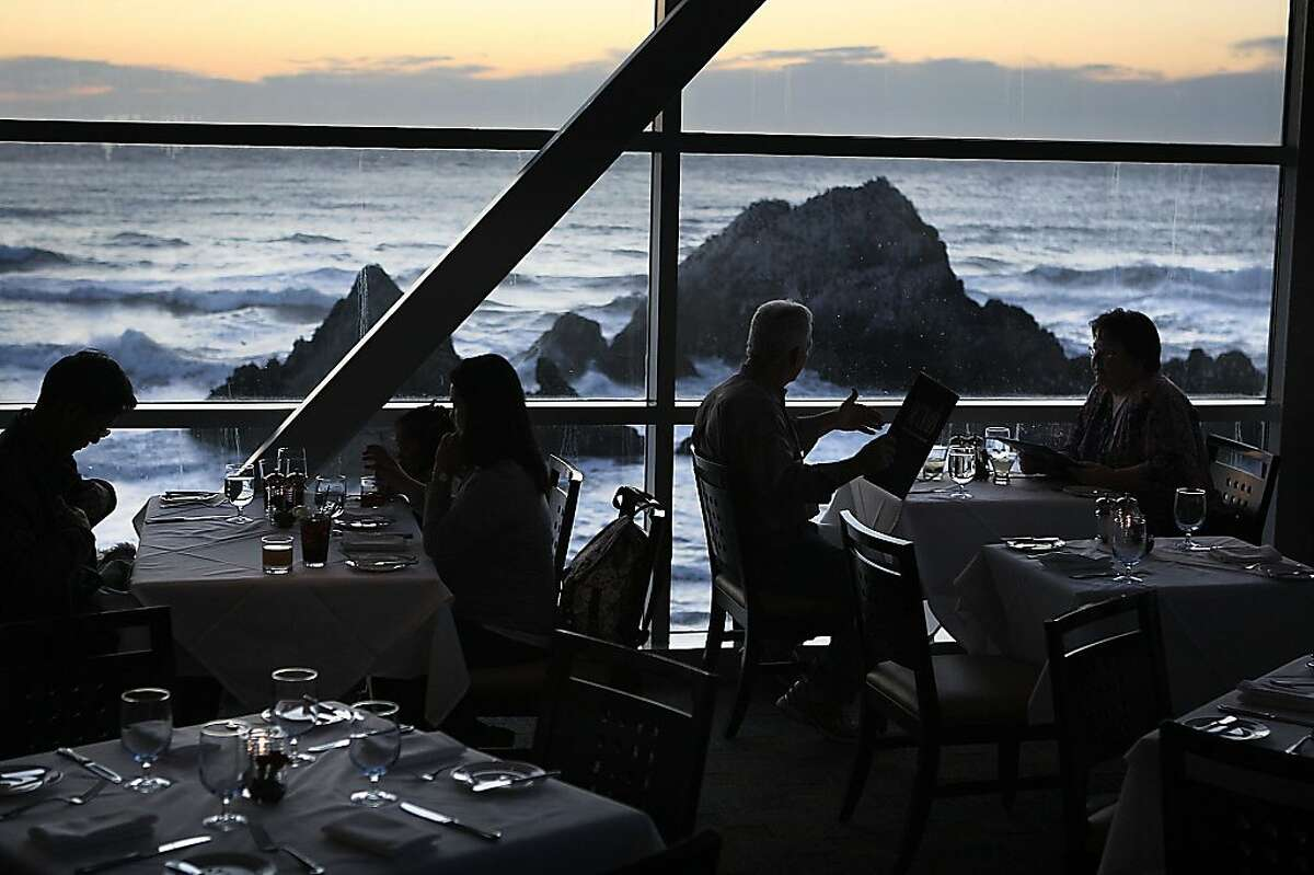 A view of Seal Rock from Sutro's at the Cliff house in San Francisco, Calif., during sunset on Thursday, November 10, 2011.