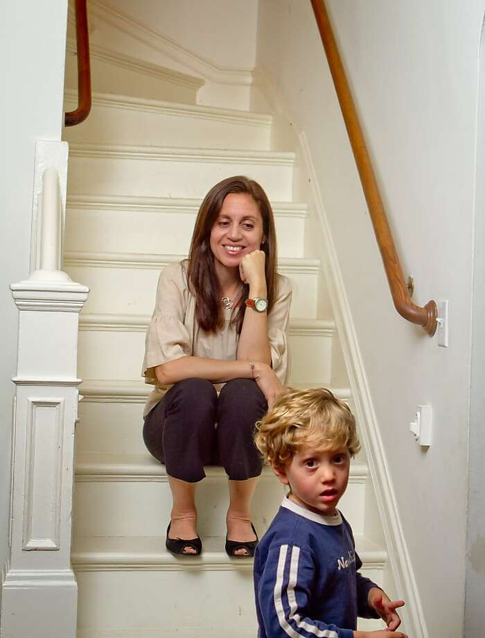 Ninive Calegari with her son Pablo Calegari at her home in San Francisco Calif., is seen on Wednesday, March 7th, 2012. She is a co-founder of 826 Valencia Street and the President of the Teacher Salary Project Photo: John Storey