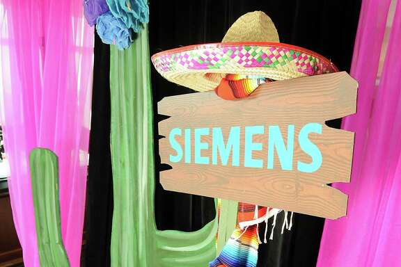 The entrance to the Cinco de Mayo themed reception held by Siemens at the West Club in Reliant Stadium Wednesday May 2,2012. (Dave Rossman Photo)
