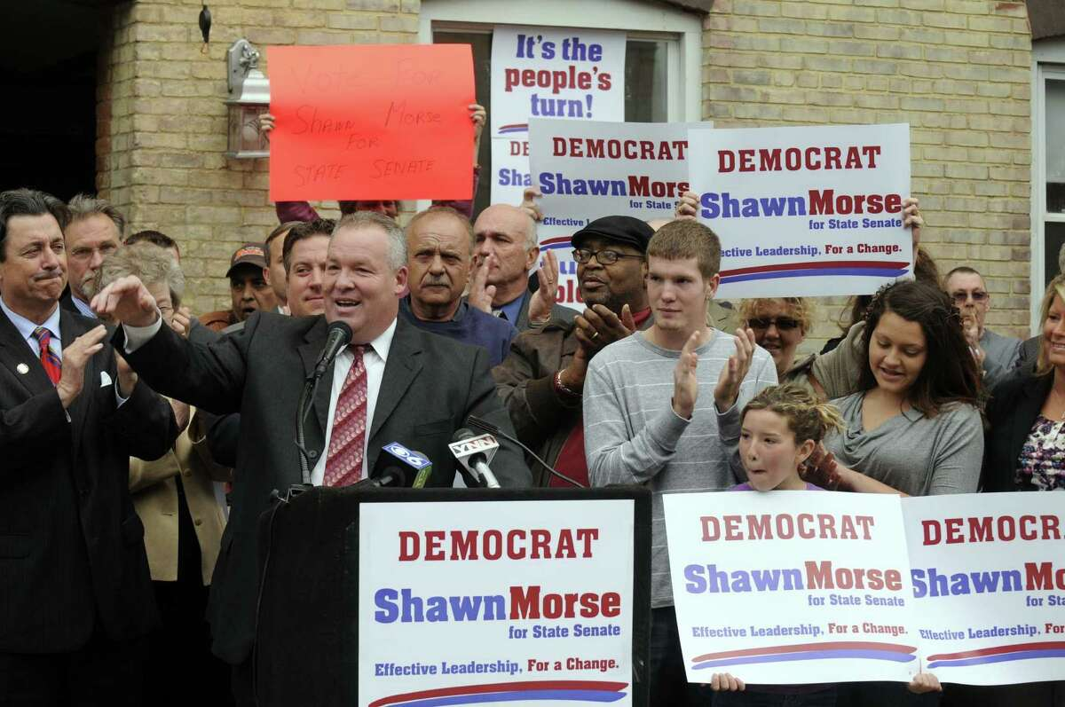 Democratic County Legislator Shawn Morse announces his candidacy for state Senate against Neil Breslin in the 44th Senate District. during a gathering of supporters at Ogden Mills apartments in Cohoes N.Y. Wednesday May 2, 2012. (Michael P. Farrell/Times Union)