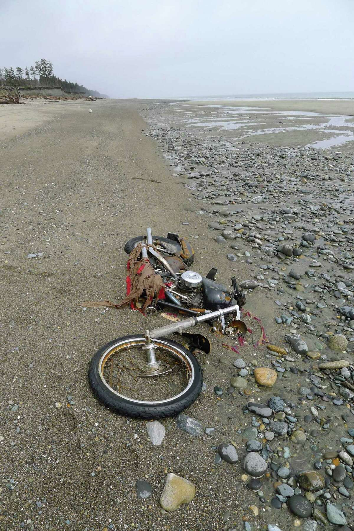 In this photo taken by Canadian Peter Mark in the end of April, 2012, and released on Wednesday, May 2, a motorbike lies on a beach in Graham Island, western Canada. It must have been a wild ride. Japanese media say a Harley-Davidson motorcycle lost in last year's tsunami has washed up on a Canadian island about 6,400 kilometers (4,000 miles) away. The rusted bike was found by Mark in a large white container where its owner, Ikuo Yokoyama, had kept it. Yokoyama, who lost three members of his family in the March 11, 2011, tsunami, was located through the license plate number, Fuji TV reported Wednesday. (AP Photo/Kyodo News, Peter Mark) JAPAN OUT, MANDATORY CREDIT, NO LICENSING IN CHINA, HONG KONG, JAPAN, SOUTH KOREA AND FRANCE