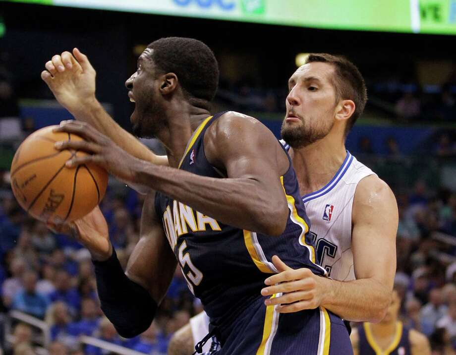 Pacers center Roy Hibbert (left) came up with 18 points and 10 rebounds. Photo: AP