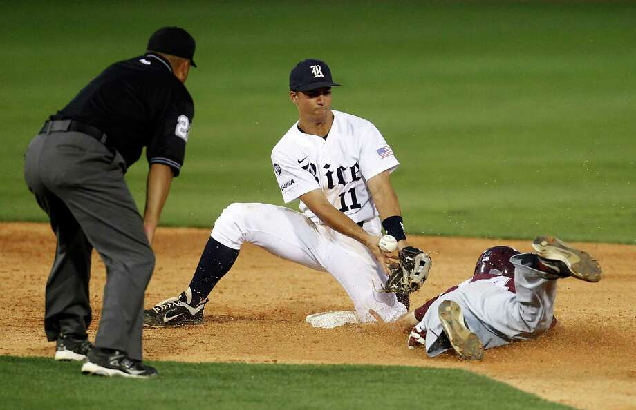 Rice's SS Ford Stainback (11) tries vainly to put the tag on TSU's Anthony Flenoy (14) as Flenoy steals second in the 6th inning at Rice University during a college baseball game at Reckling Park, Wednesday, May 2, 2012, in Houston. Photo: Karen Warren, Houston Chronicle / © 2012  Houston Chronicle