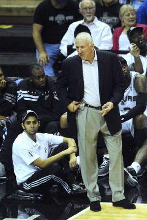 Spurs coach Gregg Popovich questions an official during NBA playoffs action against the Utah Jazz at the AT&T Center on Wednesday, May 2, 2012.  Billy Calzada / San Antonio Express-News (BILLY CALZADA / San Antonio Express-News)