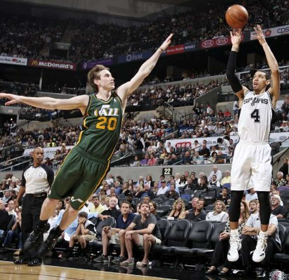 The Spurs'  Danny Green shoots over the Jazz's Gordon Hayward during second half action of Game 2 of the Western Conference first round Wednesday May 2, 2012 at the AT&T Center. The Spurs won 114-83.  EDWARD A. ORNELAS/SAN ANTONIO EXPRESS-NEWS (EDWARD A. ORNELAS / SAN ANTONIO EXPRESS-NEWS)