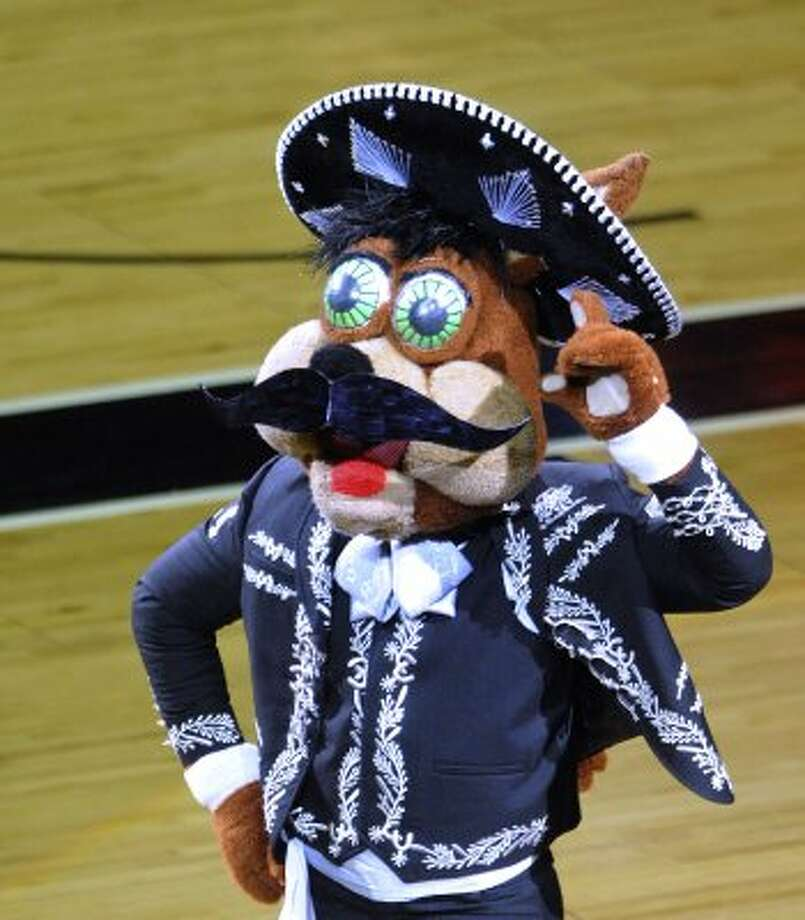 The Spurs Coyota transforms into a mariachi singer during the Utah Jazz at San Antonio Spurs playoff game at the AT&T Center on Wednesday, May 2, 2012.  Billy Calzada / San Antonio Express-News (BILLY CALZADA / San Antonio Express-News)