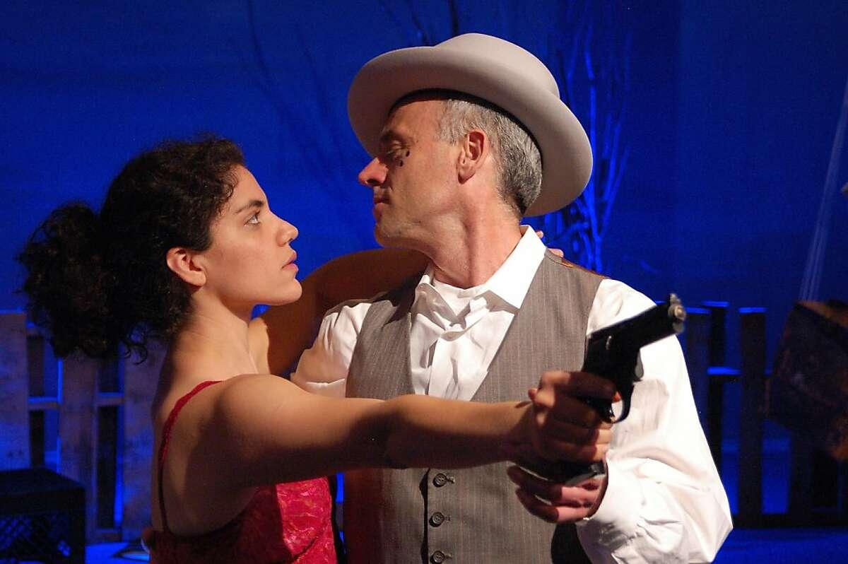 Gabriela (Carla Pauli) tangos with the Moon (Marvin Greene) in Jose Rivera's