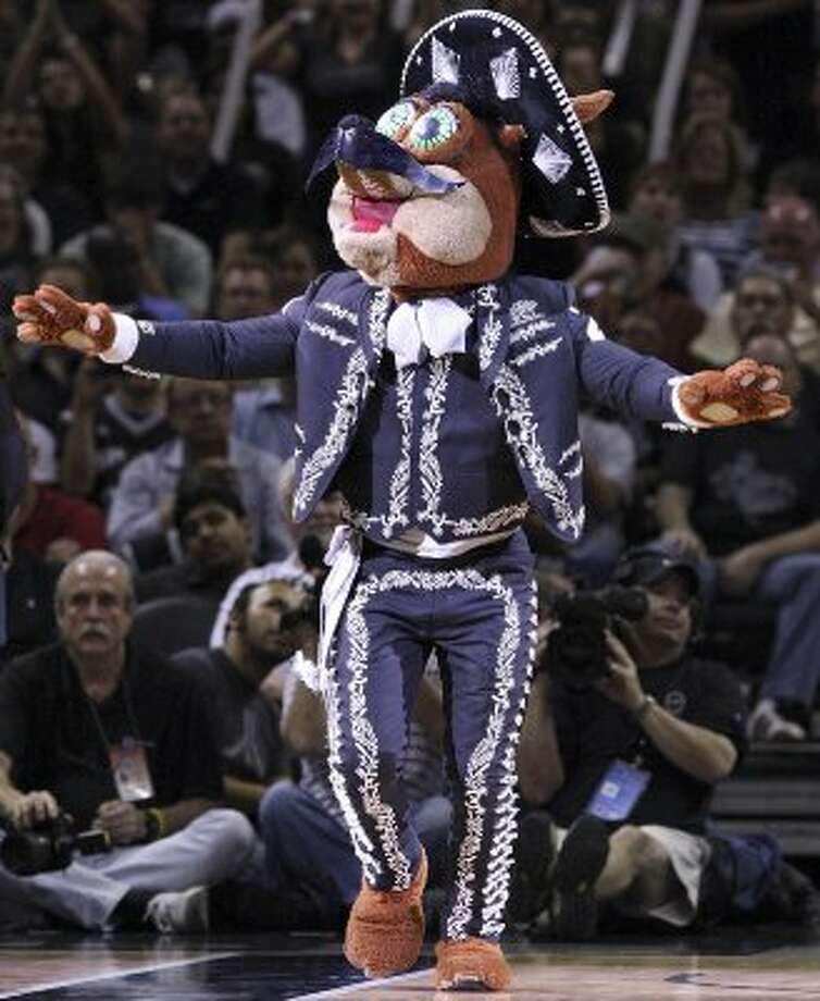 FOR SPORTS - The San Antonio Spurs Coyote performs during Game 2 of the Western Conference first round against the Utah Jazz Wednesday May 2, 2012 at the AT&T Center. The Spurs won 114-83.  (PHOTO BY EDWARD A. ORNELAS/SAN ANTONIO EXPRESS-NEWS) (SAN ANTONIO EXPRESS-NEWS)