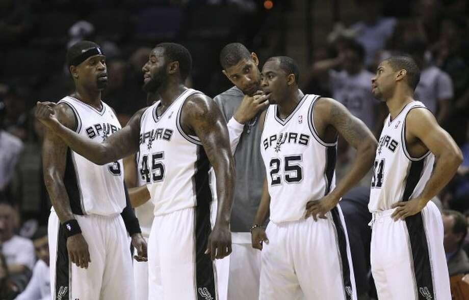 SPURS -- San Antonio Spurs gather during a break against the Utah Jazz in game two of the Western Conference first round at the AT&T Center, Sunday, May 2, 2012. The Spurs won 114-83 and lead the series, 2-0. Jerry Lara/San Antonio Express-News (San Antonio Express-News)
