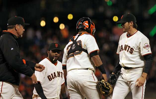 San Francisco Giants manager Bruce Bochy ask for the ball from starting pitcher Barry Zito who was taken out of their game with the Miami Marlins in the fourth inning Wednesday, May 2, 2012 in San Francisco Calif. Photo: Lance Iversen, The Chronicle