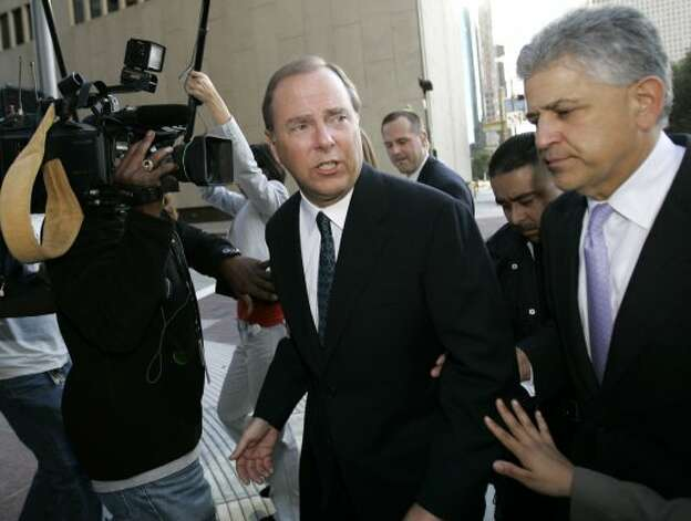 Jeff Skilling, center, was the president of Enron, and he became one of the key figures during the criminal trial. Skilling is serving a 24-year prison term for conspiracy, securities fraud, false statements and insider trading charges. The U.S. Supreme Court said prosecutors used a legal theory improperly and returned case to lower court, which upheld the convictions. His sentence may be reduced due to earlier ruling that a Houston judge erred in applying sentencing guidelines.