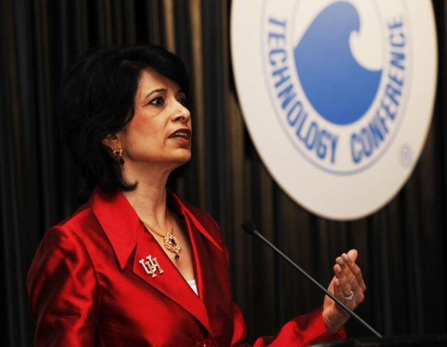 Dr. Renu Khator, president of the University of Houston, speaks about The UH Energy Research Park during the 2012 Offshore Technology Conference at Thursday, May 3, 2012, in Houston. Photo: Brett Coomer, Houston Chronicle