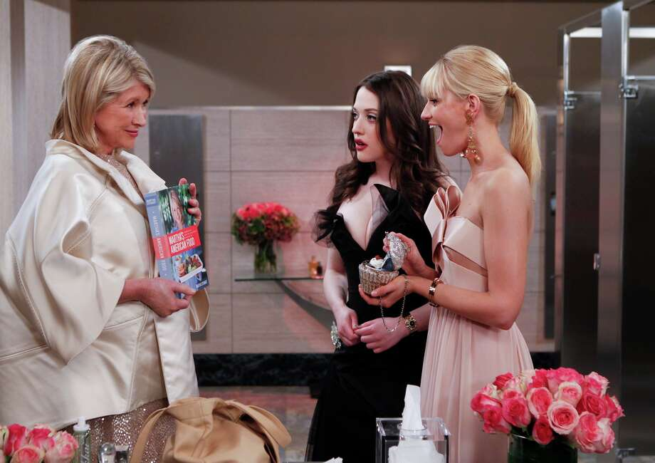 "Martha Stewart startles Max and Caroline (Kat Dennings and Beth Behrs) on ""Two Broke Girls"" Photo: CBS"