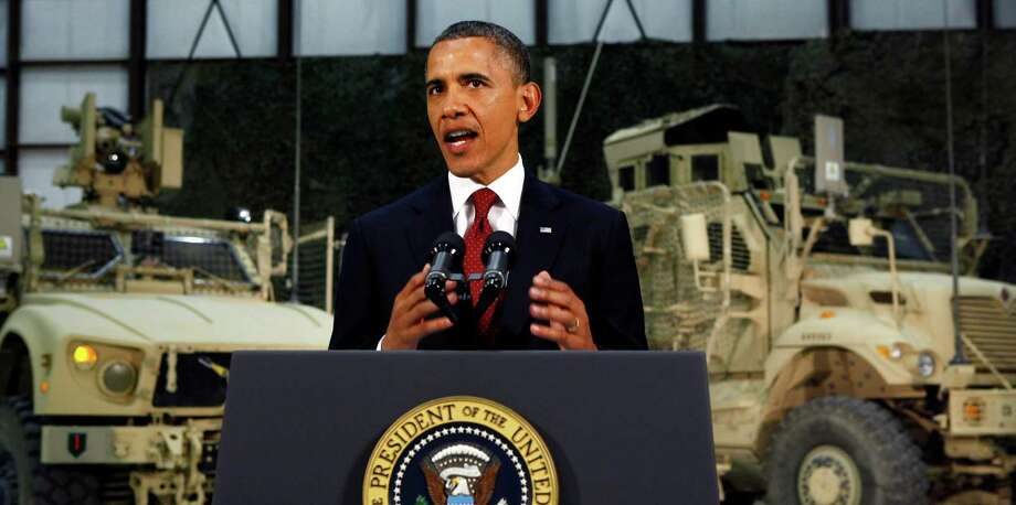 President Barack Obama delivers a speech from Bagram Air Field, Afghanistan, Tuesday, May 2, 2012. Photo: AP