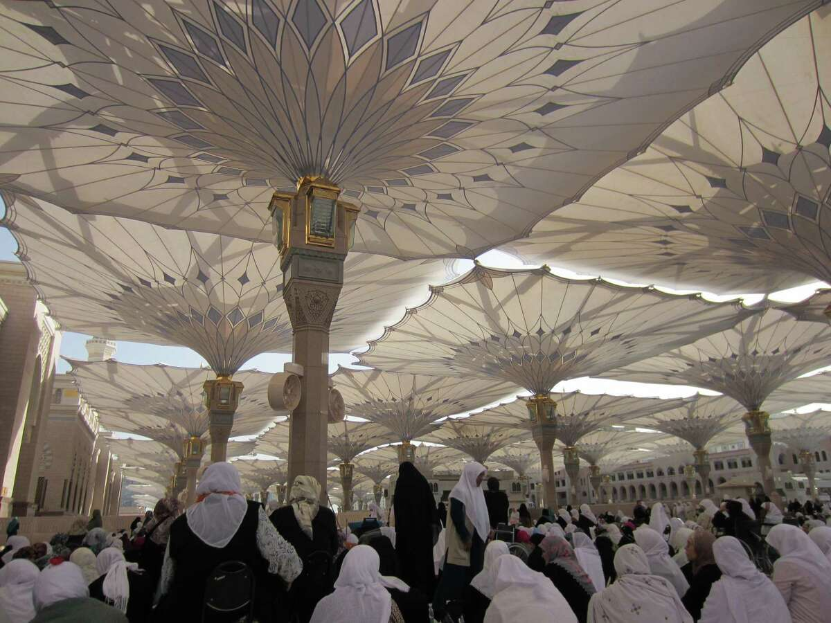 Umbrellas shield worshippers from the sun in the Masjid al-Nabawi in Medina. Blogger Wardah Khalid went to Saudia Arabia for a pilgrimage to Mecca.