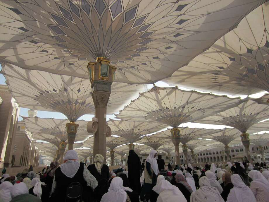 Umbrellas shield worshippers from the sun in the Masjid al-Nabawi in Medina. Blogger Wardah Khalid went to Saudia Arabia for a pilgrimage to Mecca. Photo: WARDAH KHALID