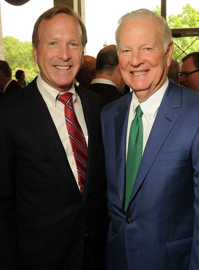 Neil Bush and James Baker III at the Men of Distinction luncheon at the River Oaks Country Club Wednesday May 2,2012. (Dave Rossman Photo) Photo: Dave Rossman, For The Chronicle / © 2012 Dave Rossman