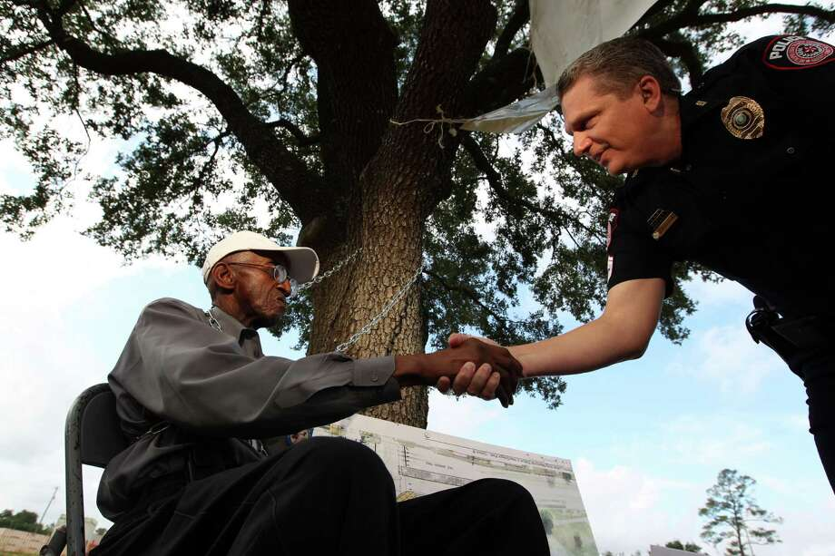 Ovide Duncantell, 75, director of the Black Heritage Society, launched a protest to make sure the Metro board follows through on the tree's relocation and MLK memorial plans. Photo: Johnny Hanson / © 2012  Houston Chronicle