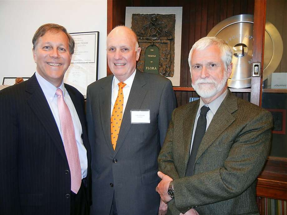 Poet Dana Gioia (left) with Arion Press Publisher Andrew Hoyem and artist Stan Washburn. April 2012. By Catherine Bigelow. Photo: Catherine Bigelow, Special To The Chronicle