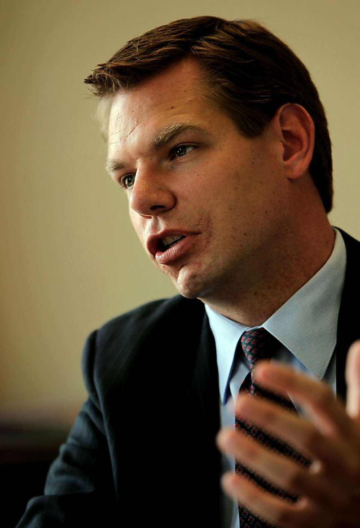 Dublin councilman and Alameda County prosecutor Eric Swalwell on Wednesday May 2, 2012, in San Francisco, Ca., is challenging Rep. Pete Stark, D-Fremont, for his 15th Congressional District seat