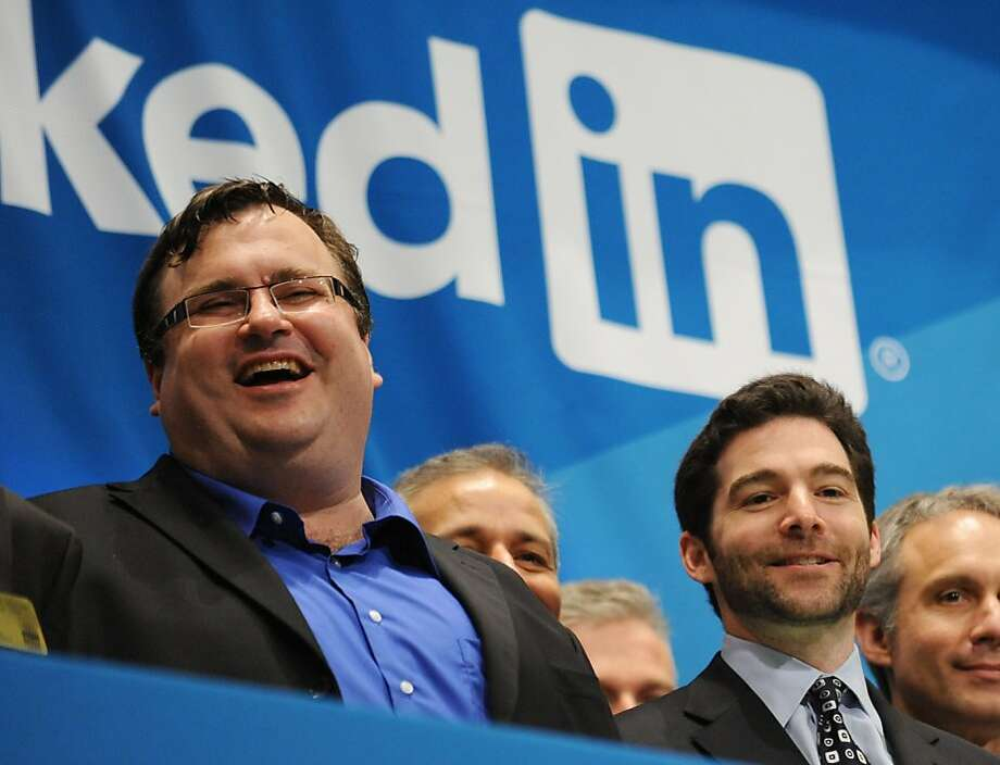 Shown in a 2011 photo, LinkedIn co-founder Reid Hoffman (left) is a Greylock partner; LinkedIn CEO Jeff Weiner (right front) spoke at Greylock's June conference on initial public offerings at a Napa Valley resort. Photo: Stan Honda, AFP/Getty Images