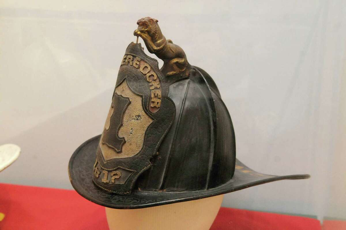 A view of a leather fire helmet which dates back to the late 1870s or early 1880s is seen in a case at the Waterford Historical Museum and Cultural Center on Thursday, May 3, 2012 in Waterford, NY. The exhibit entitled