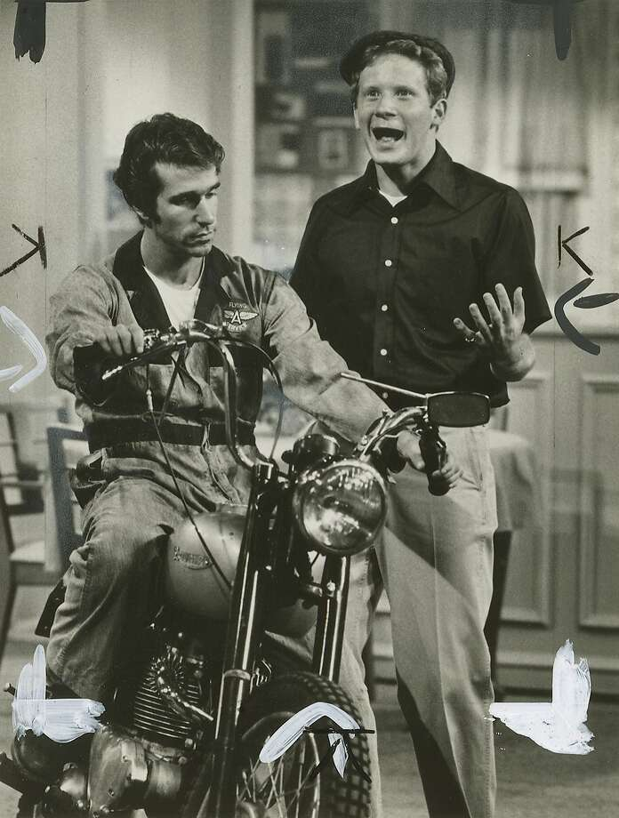 "biker09_2.JPG  1976 - Henry Winkler as Fonzie and Donny Most as Ralph in ""Happy Days.""  ABC /Chronicle File Photo Photo: Abc, Chronicle File Photo"