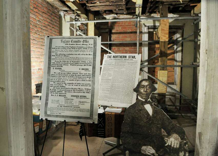 Historic display in the parlor of the 19thC. home of Stephen & Harriet Myers on Livingston Avenue in Albany Tuesday May 1, 2012. The building once housed offices of the Vigilance Committee and was a stop on the Underground Railroad. (John Carl D'Annibale / Times Union)