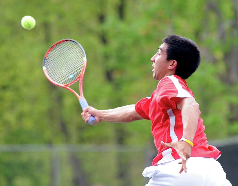 Tyler Kratky of Greenwich High School in his match against Jake Hirschberg of Staples High School during boys high school tennis match at Greenwich High School, Tuesday afternoon, May 1, 2012. Photo: Bob Luckey / Greenwich Time