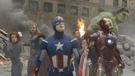 Marvel's The Avengers  L to R: Black Widow (Scarlett Johansson), Thor (Chris Hemsworth), Captain America (Chris Evans), Hawkeye (Jeremy Renner), Iron Man (Robert Downey Jr.), and Hulk (Mark Ruffalo).