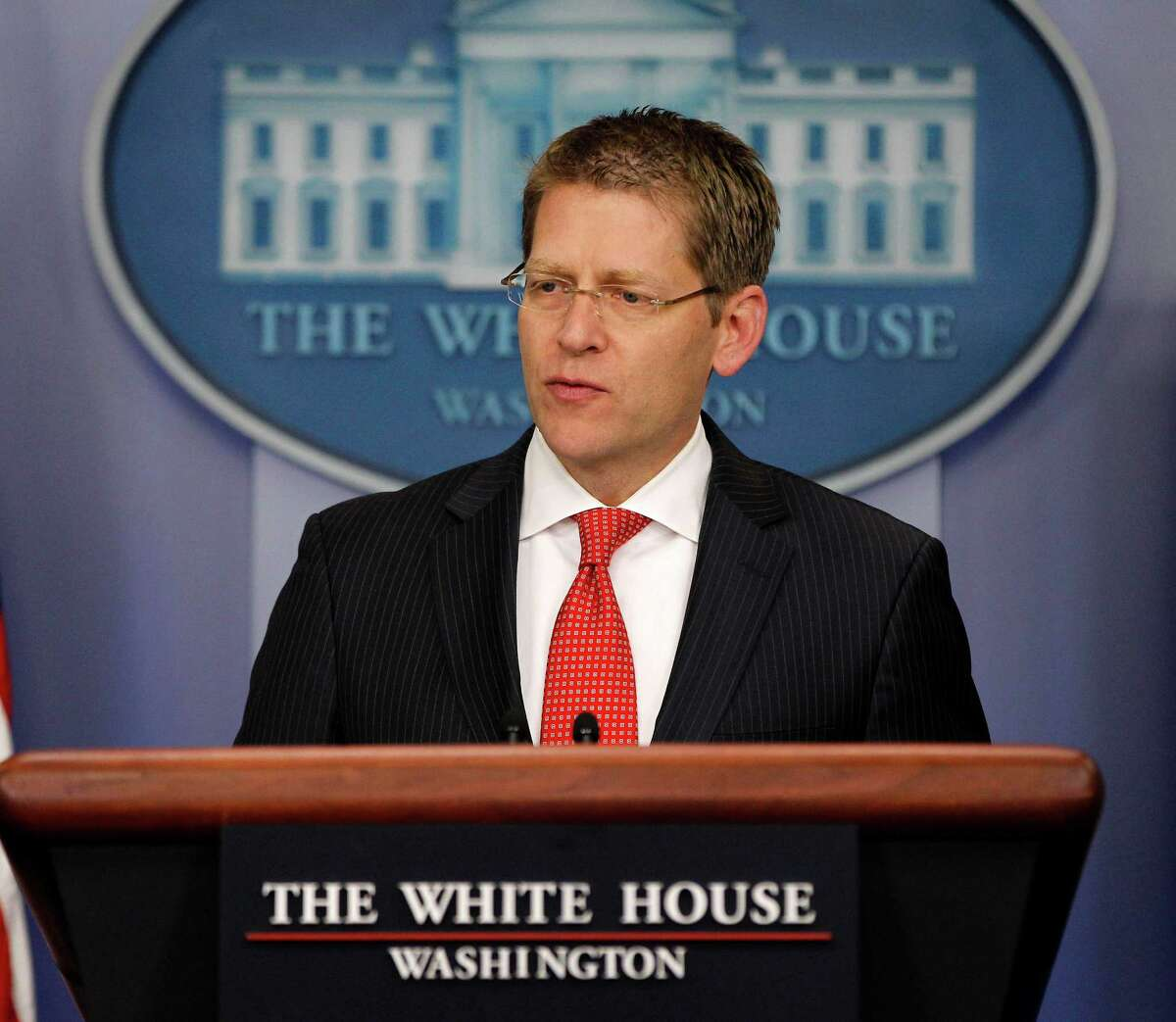 White House Press Secretary Jay Carney speaks during his daily news briefing at the White House in Washington, Thursday, May, 3, 2012. (AP Photo/Pablo Martinez Monsivais)