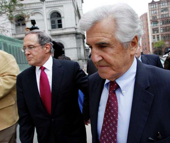 Former state Sen. Joseph Bruno, right, arrives at federal court in Albany, N.Y., with his attorney E. Stewart Jones, on Thursday, May 3, 2012. Defense attorney William Dreyer says he and Bruno have been told be in court Thursday, but haven't been told why. Federal prosecutors have said they'd pursue a new indictment after the appeals court last year rejected convictions of Bruno, now 83, on two counts of honest services fraud. (AP Photo / Mike Groll) Photo: Mike Groll / AP