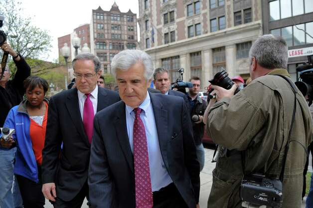 Former Senate Majority Leader Joseph Bruno enters the U.S. District Court with attorney E. Stewart Jones, left, and his son Kenneth, center, before he was indicted for a second time on Thursday afternoon May 3, 2012 in Albany, NY.   (Philip Kamrass / Times Union ) Photo: Philip Kamrass / 00017549A