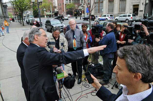 Attorneys E. Stewart Jones talks to the media on the steps of U.S. District Court after former Senate Majority Leader Joseph Bruno was indicted for a second time on Thursday afternoon May 3, 2012 in Albany, NY.   (Philip Kamrass / Times Union ) Photo: Philip Kamrass / 00017549A