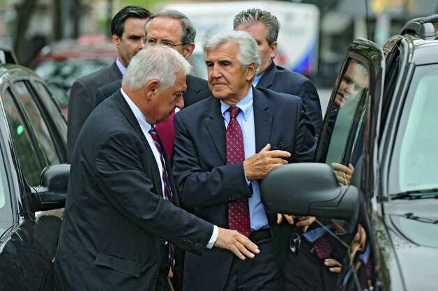 Former Senate Majority Leader Joseph Bruno emerges from a vehicle on Broadway to appear in Federal Court on Thursday May 3, 2012 in Albany, NY. He was indicted for a second time. Attorney William J. Dreyer is at left.   (Philip Kamrass / Times Union ) Photo: Philip Kamrass / 00017549A