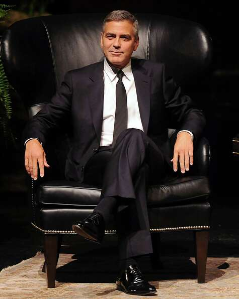 George Clooney during his appearance at the Brilliant Lecture Series at the Wortham Theater Thursday